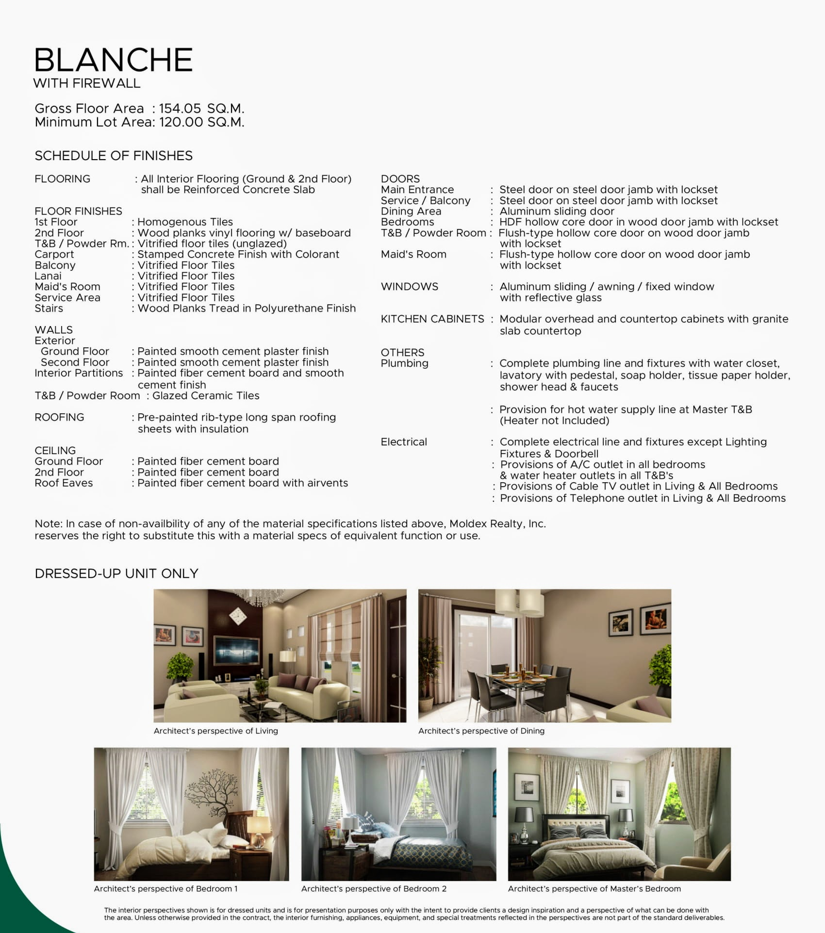 Terra Cielo, Metrogate Silang Estates Blanche unit finishes