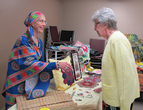 Photo: Grannies Beverley and Flo at the craft tables.