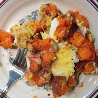 Sweet Potato Hash Browns with Eggs.