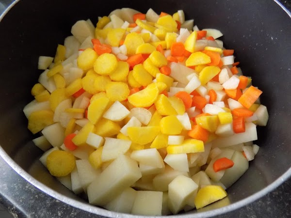 Put chopped potatoes & carrots in med/lg saucepan. Cover with warm or hot water...