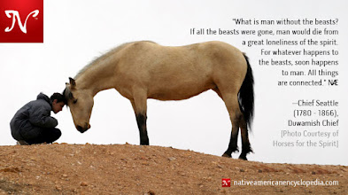 Photo: What is man without the beasts? If all the beasts were gone, man would die from a great loneliness of the spirit. For whatever happens to the beasts, soon happens to man. All things are connected. —Chief Seattle (1780 - 1866), Duwamish Chief [Photo Courtesy of Horses for the Spirit]