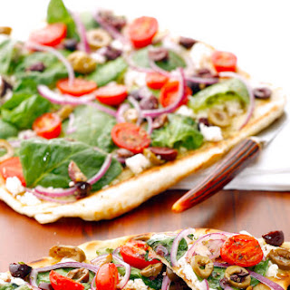 Greek Feta Salad & Spinach Grilled Pizza