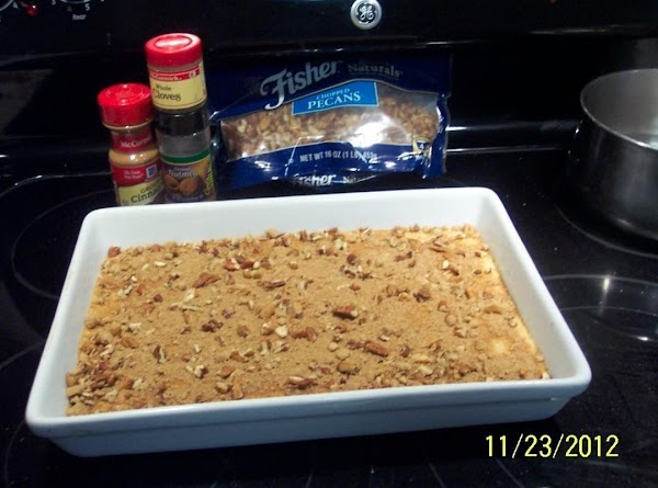 ** TOPPING:Mix together brown sugar, nutmeg, cinnamon, and sprinkle over the batter in the...