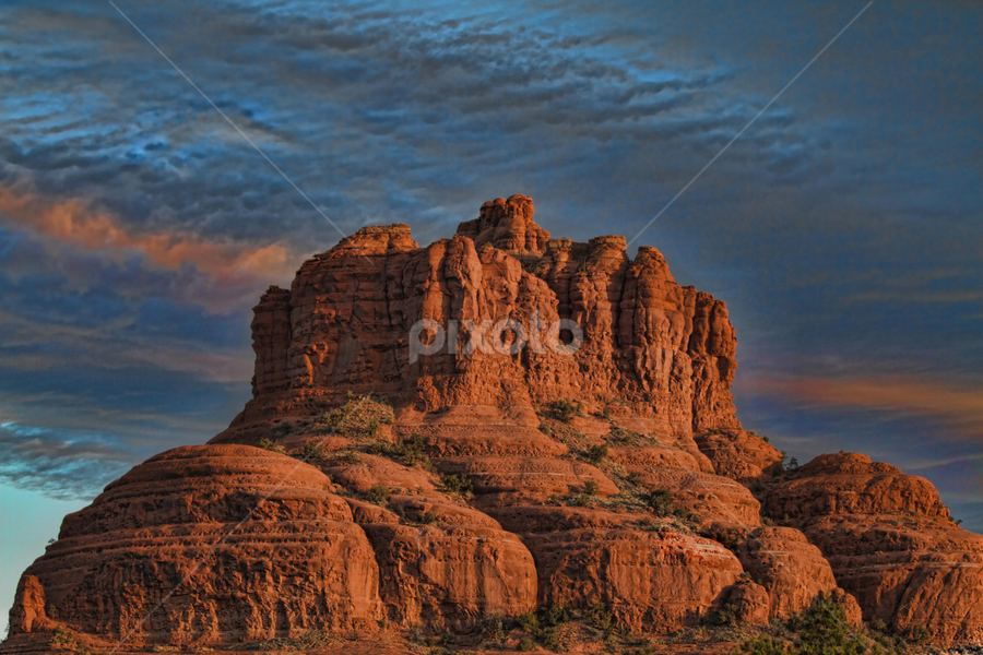 Bell Rock by Kim Wilson - Landscapes Weather ( orange, spiritual blue, exterior, bell rock, rock, red rocks, morning, landscape. day, pwcfoulweather-dq, vortex, landmark, horizontal, outdoor, arizona, sunrise, sedona, outside, formation )