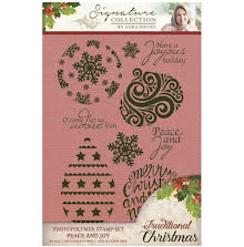 Sara Davies Signature Traditional Christmas Clear Stamps - Peace and Joy UTGÅEND
