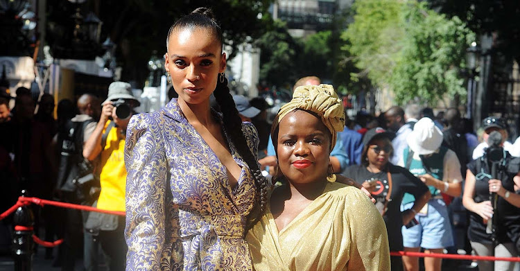 DA communications shadow minister Phumzile Van Damme with her sister Qiniso, left, at the 2019 state of the nation address in Cape Town.