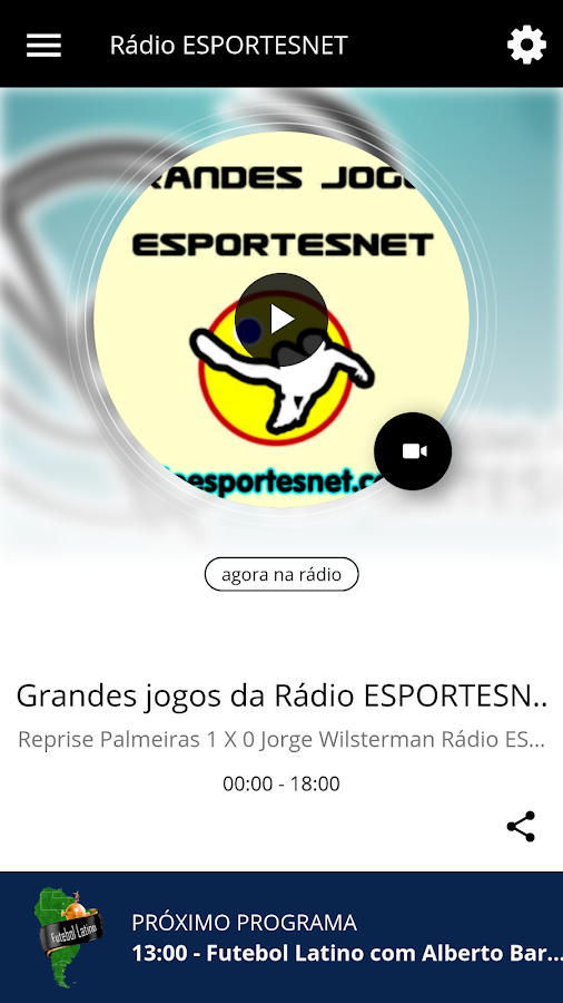 Rádio ESPORTESNET: captura de tela