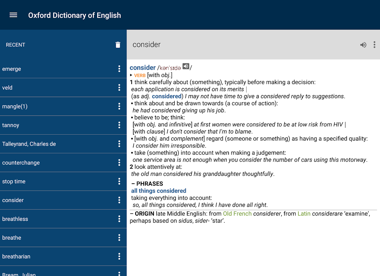 Oxford Dictionary of English F- screenshot