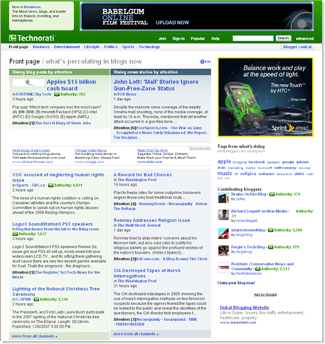 Technorati Frontpage