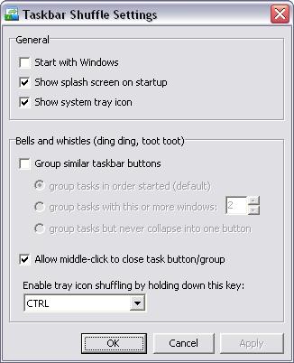 Taskbar Shuffle Setting Window