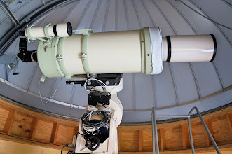 Photo: The Casby Observatory houses an 8″ TMB design refractor, a Takahashi Mewlon 300 Dall-Kirkham, and a SV102 refractor. These telescopes sit on an Astro Physics 3600 GTO mount, under a 12.5 foot Ash-Dome.