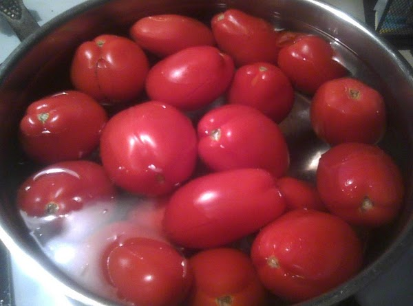 Bring a large pot of salted water to boiling.  Add the tomatoes in...
