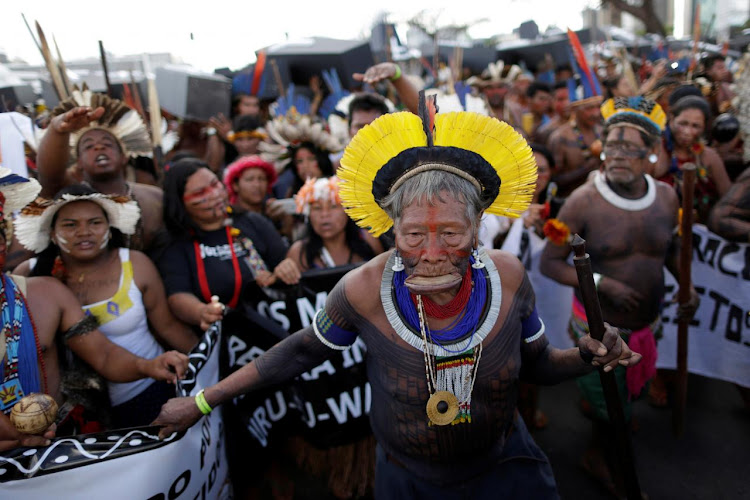 Brazilian Indians in Brasilia demonstrate against the violation of indigenous people's rights.