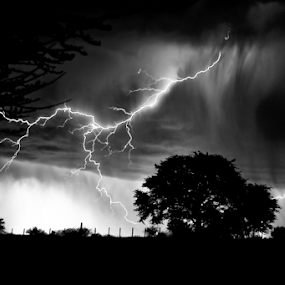 Thunderstorm... by Charel Schreuder - Black & White Landscapes ( thunder, lightning, thunderstorm, south africa, nossob, googlephotographer, kgalagadi transfrontier park, storm, landscapes, kalahari, charel schreuder )