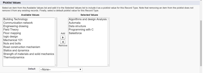 record type values