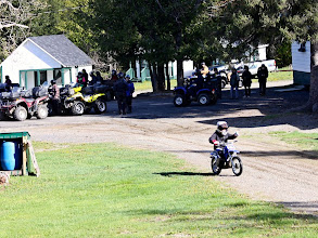 Photo: Sat, May 18/13 - Shiktehawk ATV Day - Tim Drost's son is excited to enjoy the day on his dirt bike (they loaded it on the back of a SXS through a few of tougher spots)