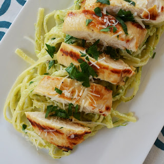 Roasted Asparagus Ricotta Linguine with Grilled Lemon Chicken.