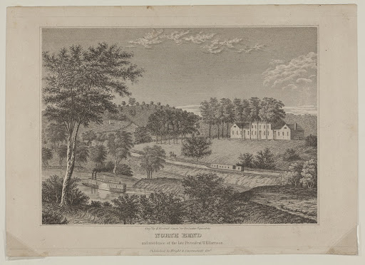 "Copperplate Engraving, ""North Bend and Residence of the Late President W.H. Harrison,"" circa 1843"
