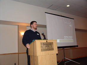 Photo: Student Activities Chair Richard Cameron spoke about the recent Science Fair and the deserved winners of our ASHRAE OVC prizes