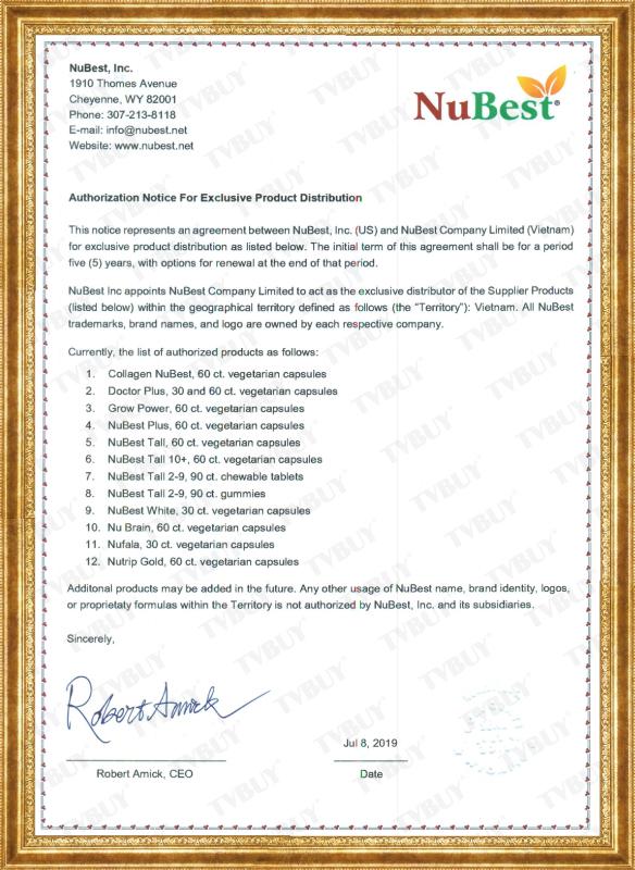 Giấy ủy quyền phân phối chính hãng các sản phẩm của NuBest Inc