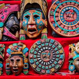 Mayan Masks and Calendars by Sergio Yorick - Artistic Objects Other Objects ( artistic objects, color, mayas, masks, object )