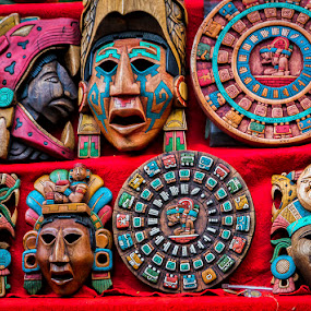 Mayan Masks and Calendars by Sergio Yorick - Artistic Objects Other Objects ( artistic objects, color, mayas, masks, object )