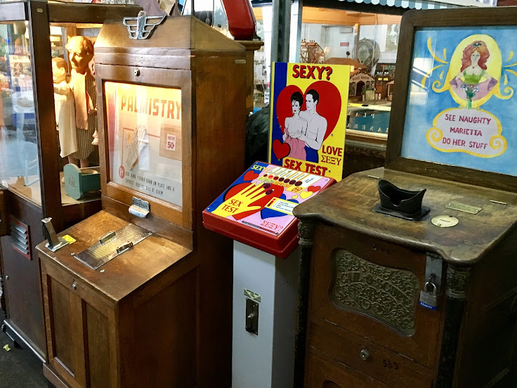 Coin operated peep show boxes, love testers and more.