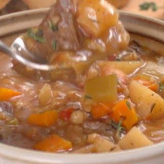 Beef Barley Soup in Slow Cooker.