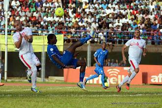 Photo: John Kamara attempts an overhead shot on goal against Tunisia, June 2013 (Pic: Darren McKinstry)