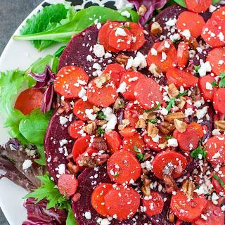 Warm Carrot Beet Spinach Salad