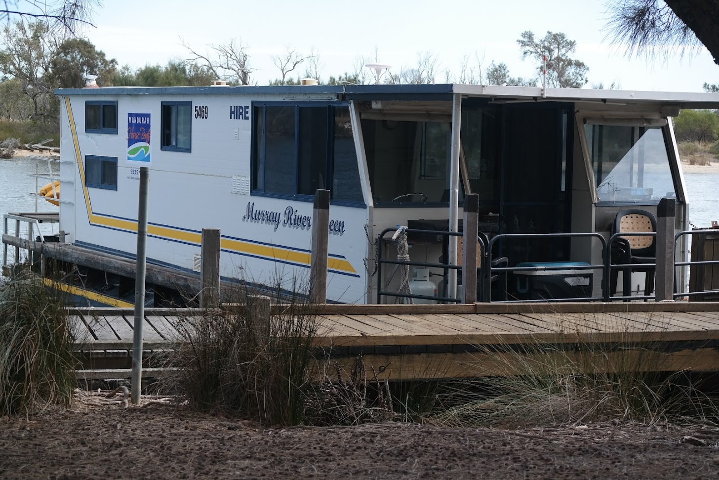 """The Murray River Queen docked at Cooper""""s Mill."""
