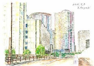 Photo: 8-T4新しい豊洲橋から見た芝浦工大、IHI本社と高層マンション群 qpoqp  名雪さんの絵はがきはこちらからご購入頂けます。 http://artgoods.creativesmile.info/products/list.php?category_id=51