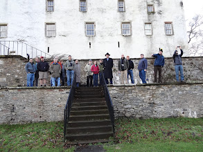 Photo: The group at the rear of the house at Traquair.