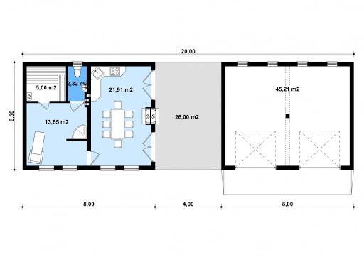 G191 - Budynek rekreacyjny z sauną - Rzut parteru