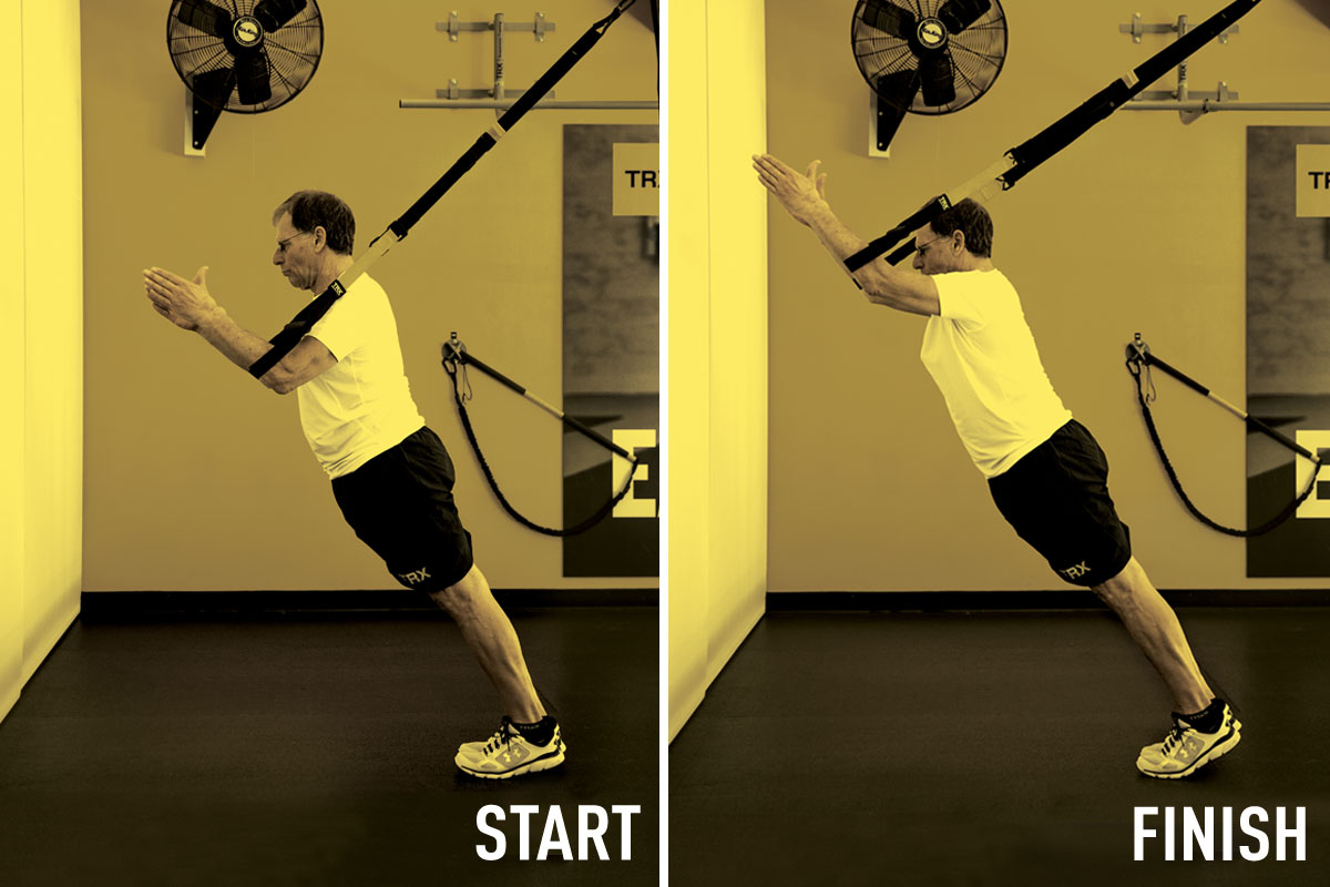 Man doing TRX standing roll out
