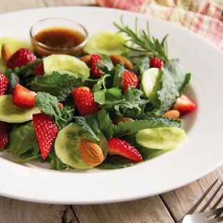 Baby Kale Strawberry Salad with Rosemary Balsamic Vinaigrette