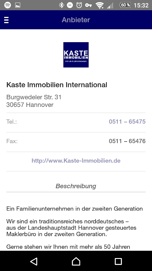 Kaste Immobilien Hannover- screenshot