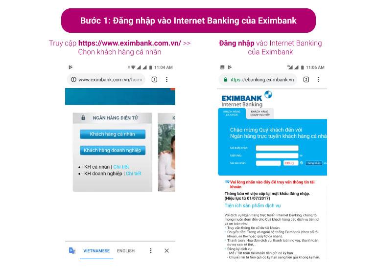 Đăng nhập vào Internet Banking của Eximbank