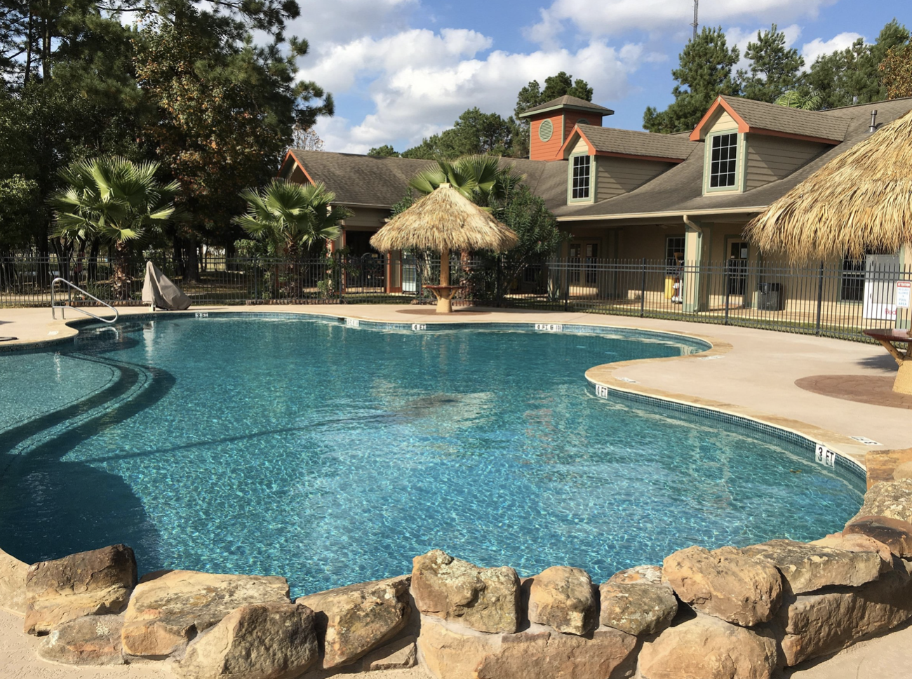Pool area and cabana at Rayford Crossing