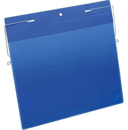 Plastficka A4L trådbygel blå