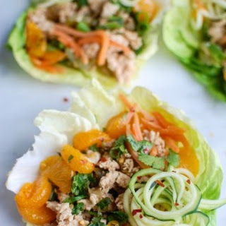 Asian Chicken Zoodle Lettuce Wraps.