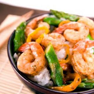Chili Shrimp and Asparagus Stir Fry.