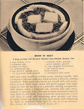 Photo: Woman's Day always featured recipes, though the ones in this issue weren't very interesting. This one was a little different, though. I've never seen anything like it. I might try it using sausage. My husband likes sausage and used to like mush, though I haven't made it in years.....I had a hard time scanning this recipe, each time the page would fold somehow, even though it looked perfectly fine when I laid it down.  BTW, Miss Carrie Johnson won a prize for this budget recipe.