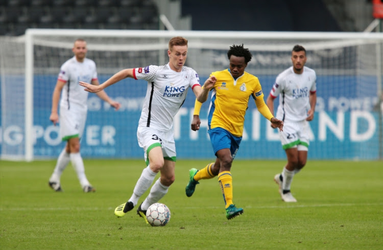 Mathieu Maertens of OH Leuven in action with Muzi Tau Percy of Royal Union Saint-Gilloise during the Proximus League match between OH Leuven and Royal Union Saint-Gilloise at King Power at Den Dreef Stadion on September 30, 2018 in Heverlee, Belgium.
