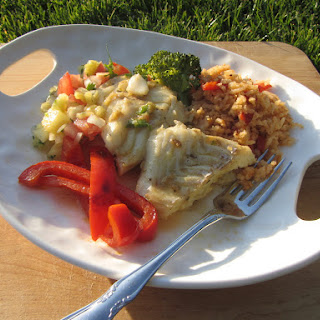Cinco de Mayo Pacific cod, pineapple pico de gallo and Spanish rice