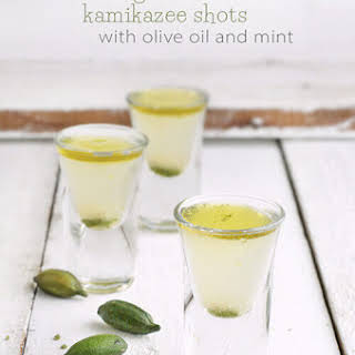 Finger Lime Kamikaze Shots with Mint and Olive Oil.