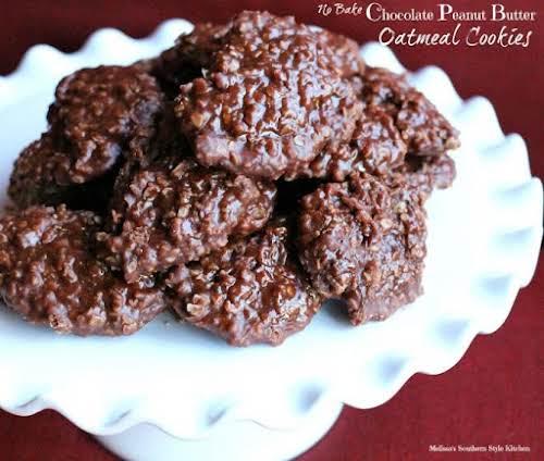 """No Bake Chocolate Peanut Butter Oatmeal Cookies """"These No Bake Chocolate Peanut..."""
