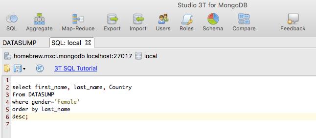 Studio 3T SQL query builder