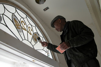 Photo: November 2006 - Month 39: Goldleaf numbers going up on the original, newly restored, leaded glass