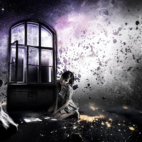 Alone In The Space... by Ilkgul Caylak - Digital Art Things ( cool, edited, clouds, beautiful, nice, dramatic sky, space, photography, photooftheday, amazing, girl, sky, awesome, woman, dramatic, editoftheday, photo editing, galaxy, photoshop )